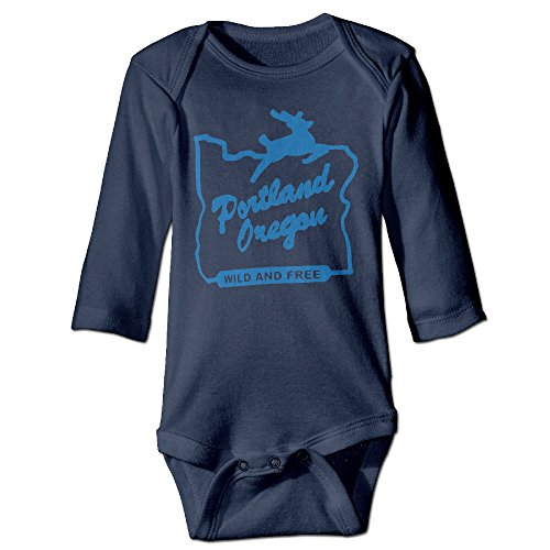 Portland Oregon Wild And Free Great Gift Ideas Hometown Pride Newborn Clothes Baby Screen-Print Baby Bodysuit Performance Long Sleeve Baby Onesies (Gift Delivery Portland)
