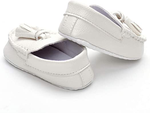 Baby Boy Girl White Gentleman Faux Leather Crib Shoes Loafers Size 0-18Month //M