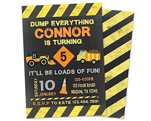 amazon com dump truck construction birthday invitations boy handmade