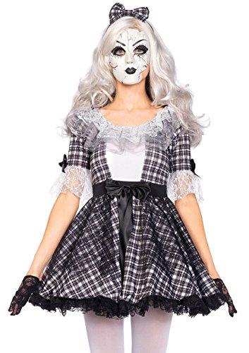 Broken Doll Adult Costumes (Leg Avenue Women's 3 Piece Pretty Porcelain Doll Costume, Black/White, Large)