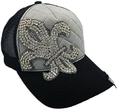 Cap Couture Women's Baseball Trucker Quilted Fleur de Lis - Couture Hat Trucker