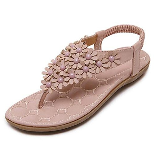 Comfortable Soft Pink Women Decoration Flowers Women Shoes Beach Flats Zcaosma Casual with Sandals Wearing 8OvCnq5
