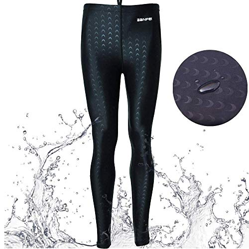 - Mens Waterproof Swim Legging Dry Fast Stretchy Base Layer Sun Protection Rash Guard Pants for Scuba Canoeing Fishing Black L2 (Black, US XXL(Waist:44-48''/Height:70-74'')