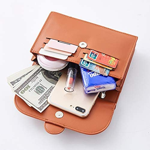 女性のカジュアルマルチスロットクロスボディバッグミニソリッド6カードスロットの電話袋のハンドバッグ YZUEYT