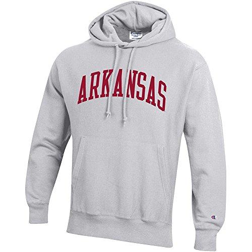 Elite Fan Shop Arkansas Razorbacks Reverse Weave Hooded Sweatshirt Gray - M