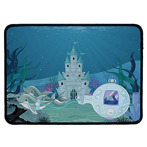 Ocean Precise Mouse Pad,Fairytale Mermaid Castle with Dolphins Moss Fish Sun Beams Art Print for Home & Office,9.84''Wx11.81''Lx0.12''H
