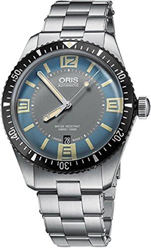 Oris Divers65 Mens 41MM Date Light Blue/Grey Face Stainless Steel Bracelet Automatic Swiss Watch 73377074065MB