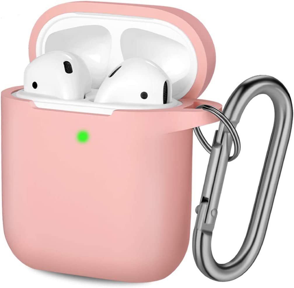 Hamile Compatible with AirPods Case [Front LED Visible] Soft Silicone Protective Cases Cover Skin Designed for Apple AirPod 2 & 1, Women Men, with Keychain (Light Pink)
