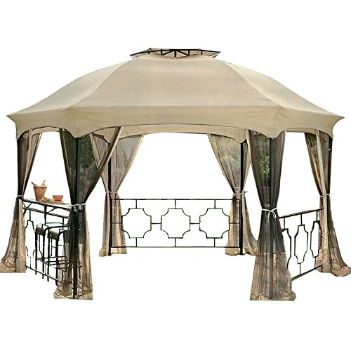 Garden Winds Dawson Hexagon Gazebo Replacement Canopy Riplock 350 Gazebos Patio And Furniture