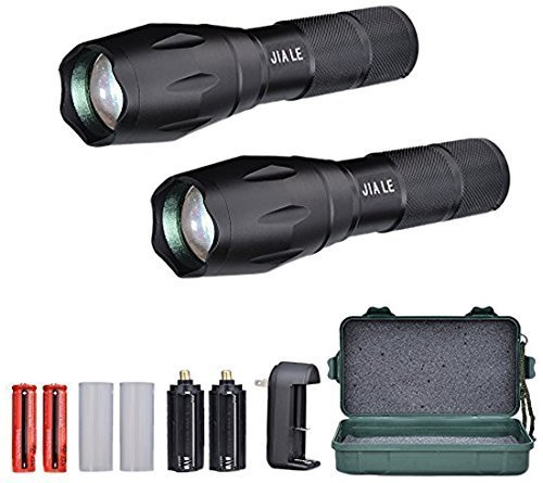 JIA LE Tactical Flashlight Super Bright Led T6 Cree Flashlights 1000 Lumens with 2 Rechargeable 18650 Lithium Ion Batteries and Charger Water Resistant, Ideal For Camping Emergency, 2 Piece (3 4 Piece Body Type)