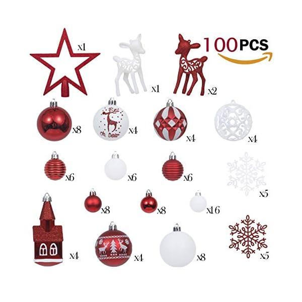 Victor's Workshop Addobbi Natalizi 100 Pezzi di Palline di Natale, Oh Cervo Rosso e Bianco Infrangibile Ornamenti di Palla di Natale Decorazione per la Decorazione Dell'Albero di Natale 3 spesavip