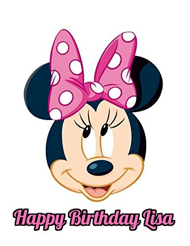 Minnie Mouse Round Girl's Birthday Edible Image Photo Cake Topper Sheet Personalized Custom Customized Birthday Party - 8