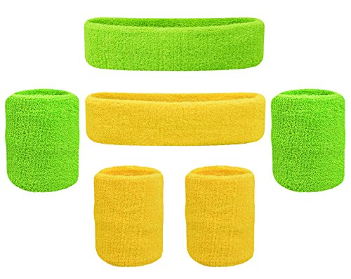 Oldhill Kids Sweatband Set - (2 Headbands and 4 Wristbands) Thick Terry Cloth Cotton for Sports Indoor and Outdoor - Green, ()