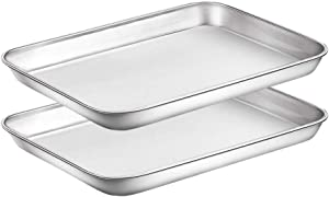 WEZVIX Stainless Steel Baking Sheet Set of 2 Cookie Sheet Tray Toaster Oven Pan Rectangle Size 9 x 7 x 1 inch, Non Toxic, Rust Free & Less Stick, Thick & Sturdy, Easy Clean & Dishwasher Safe