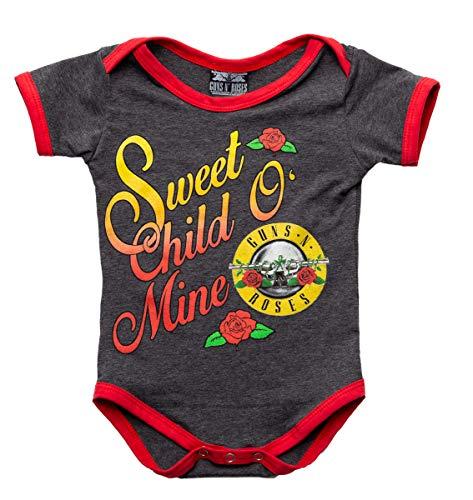 Guns N Roses Sweet Child O' Mine Diaper Suit Onesie (12-18M, Charcoal/Red) - Guns N Roses Bodysuit