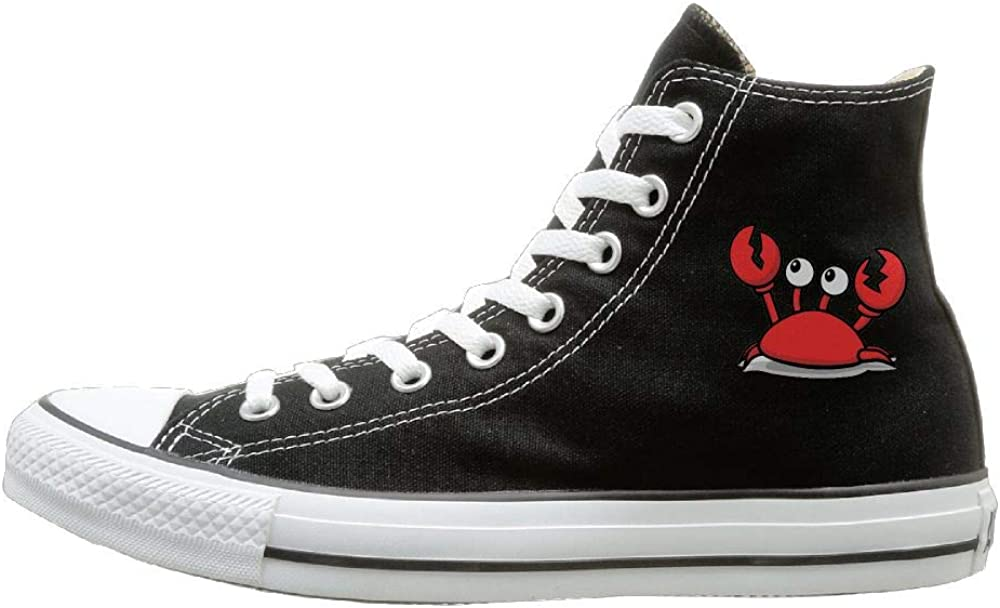 Buecoutes Cute Red Crab Canvas Shoes High Top Design Black Sneakers Unisex Style