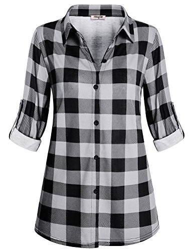 Hibelle Plaid Tunic, Feminine Casual Lightweight Soft Shirt Funny Turn-Down Collar Fit Nicely Button Down Design Buffalo Check From-Fitting Tops Pattern Tartan Blouses Black Medium Buffalo Plaid Tunic Top