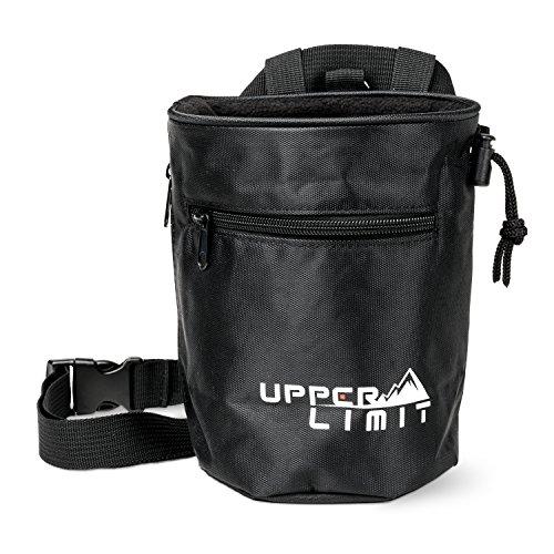 Bag Upper - Upper Limit Chalk Bag for Rock Climbing, Weightlifting, Bouldering & Gymnastics - Carabiner Clip - 2 Large Zippered Pockets for The iPhone! (Black)