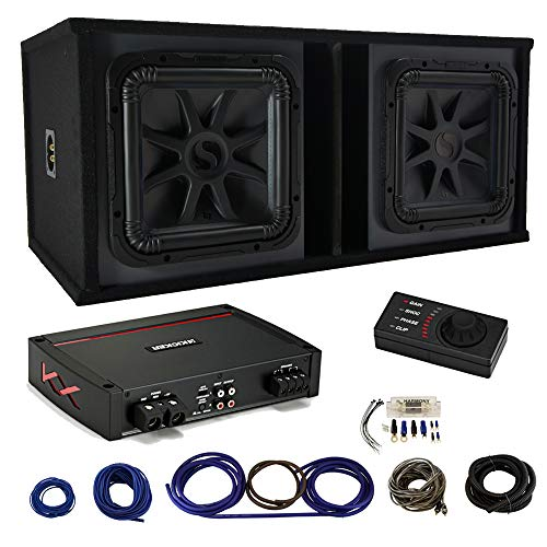 Kicker 44KXA16001 Amp with Kicker Car Audio Solo-Baric 12 Subwoofer Square L7 Dual 4 Ohm Sub (2), Ported Sub Box, Amp Install Kit (Best Amp For Kicker L7 12)