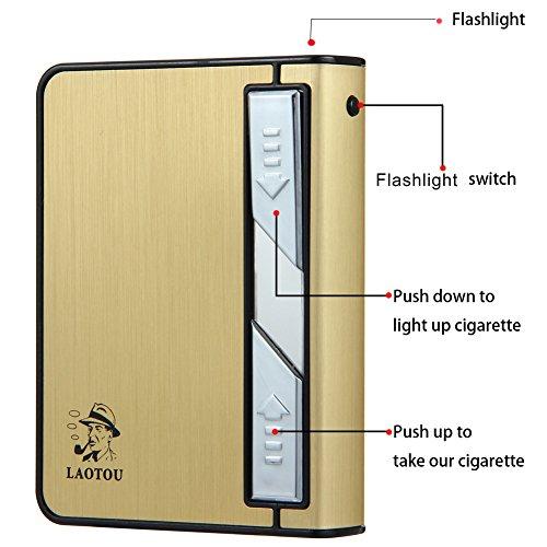 Cigarette Case Lighter,Moonwbak Multifunction Cigarette BOX Holder USB Electric Rechargeable Cigar Lighter,Push out Cigarette Holder with Electric Torch (Gold-Black) by Moonwbak