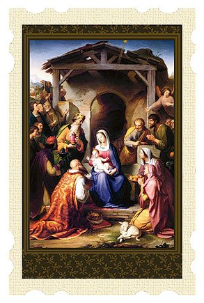 The Nativity Old Masters Antique Tone Scallop Edge Christmas Pocket 4 Inch Holy Card