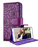 Galaxy S6 Edge Plus Wallet Case, FLYEE Premium Vintage Emboss Flower Flip Wallet Shell PU Leather Magnetic Cover Skin with Detachable Wrist Strap Case for Samsung Galaxy S6 Edge Plus Purple