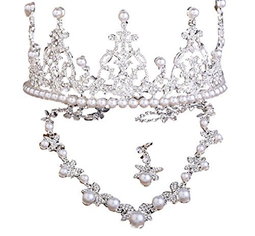 Handcrafted Austrian Crystal Pearl - Royal Girl Cake Topper Handcrafted Tiara Silver Rhinestone & Imitation Pearls Crown Accessories 3 Pcs Set