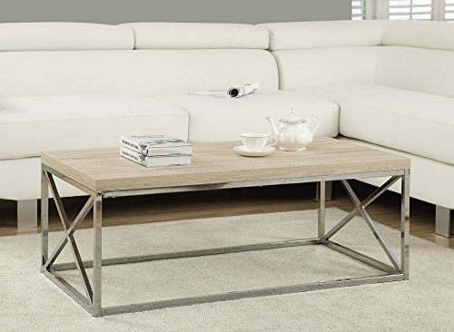 Monarch Specialties I 3208, Cocktail Table, Chrome Metal, Natural (Wood Modern Natural Table)