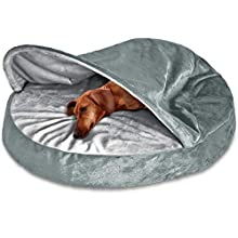 FurHaven Pet Dog Bed | Orthopedic Round Microvelvet Snuggery Burrow Pet Bed for Dogs & Cats, Gray, 26-Inch