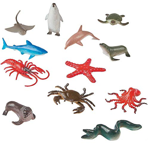 - Kicko Vinyl Ocean Animals - Pack of 12 - 2 X 3.5 Inches - Assorted Animal Figures - Underwater Sea Life Creatures - for Kids - Great Party Favors, Bag Stuffers, Fun, Toy, Gift, Prize, Pinata Fillers