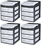 STERILITE 20639004 3 Drawer Desktop Unit, Black Frame with Clear Drawers and Cover, 4-Pack