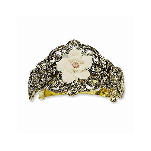 Jewelry Adviser Gold-tone Porcelain Rose Ponytail Holder