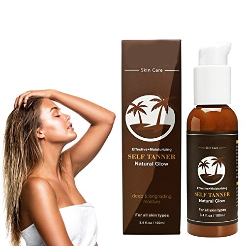 (Self Sunless Tanning Bed Lotion Organic Tanner Mousse Indoor Beauty Bronzer Golden Body Face for Light Fair Skin Best Instant Safe Tan Summer Gift for Men Women)