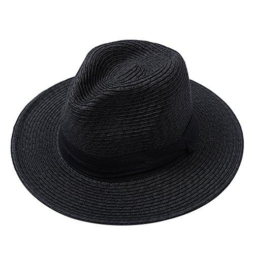 Outflower 帽子 メンズ レディース 麦わら帽子 ストローハット おしゃれ 折りたたみ 通気性 携帯便利 UVカット 旅行 ビーチ アウトドア【ブラック】