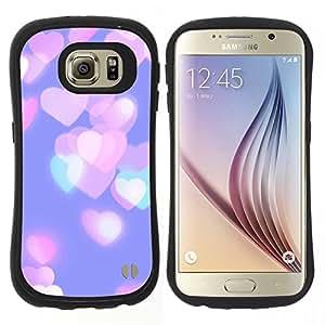 """Hypernova Slim Fit Dual Barniz Protector Caso Case Funda Para Samsung Galaxy S6 [Corazones ciudad rosa púrpura del trullo""""]"""