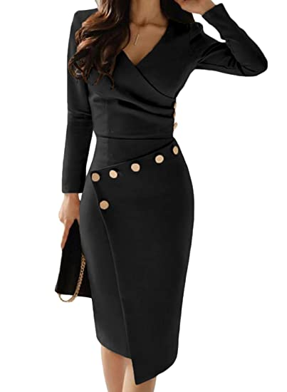 a98e9eacba Asvivid Women Vintage V-Neck Breasted Pencil Dresses Work Business Cocktail Party  Bodycon Size 8-22  Amazon.co.uk  Clothing