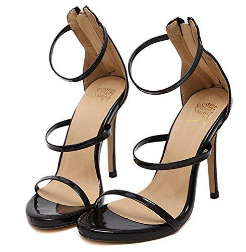 Aisun Donna Sexy Scava Fuori Punta Aperta Tacchi Posteriore Con Cerniera Vestito Sandali Stiletto Scarpe Con Tacco Alto Con Cinturini Alla Caviglia Nero