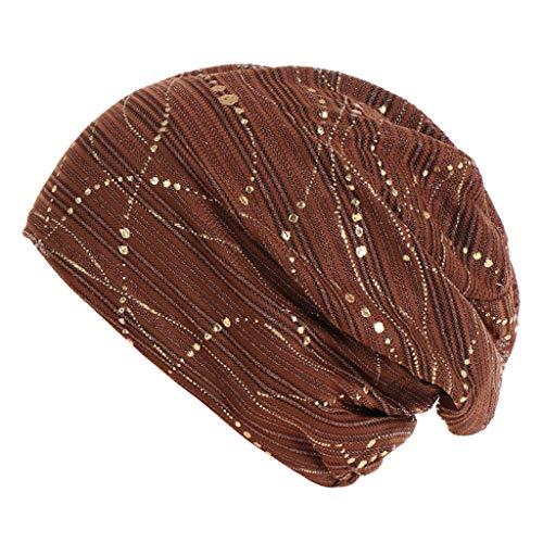 (Pengy Women Muslim Hat Frontal Lace Cross Bonnet Cap Males Hijab Turban Hat Chemo Cap Coffee)