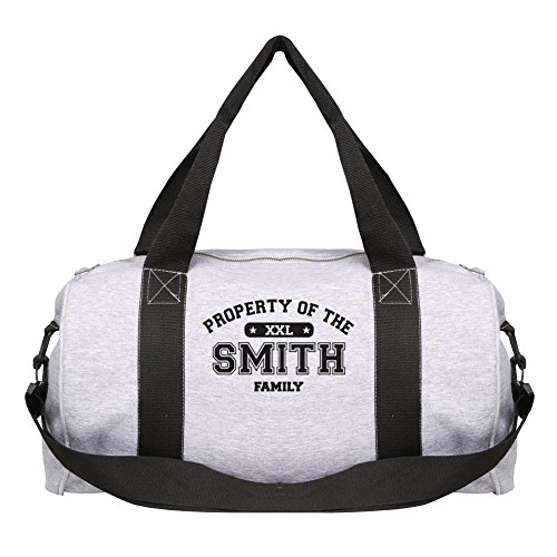 Unisex-Adult Personalized Property Of [Your Name] Sports Duffel Bag - Washable Sweatshirt Fabric - Sport Gray