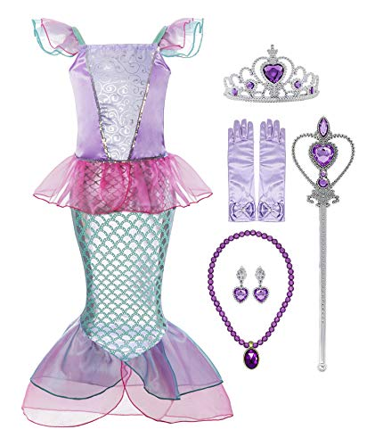 Padete Little Girl Mermaid Princess Costume Sequins Party Dress (8-9 Years, Pink with Accessories)