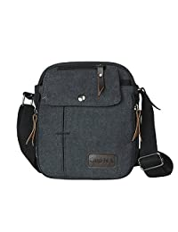 Etbotu - Bolsa bandolera para hombre, lona, casual, bolsa de hombro, Negro, 1
