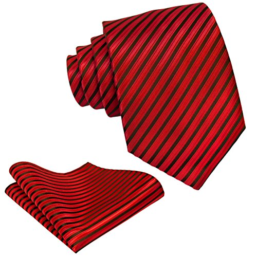 Striped Ties for Men - Woven Necktie with Matching Pocket Square - Red -