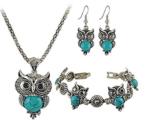 Greendou Fashion Jewelry Retro Gemstone Antique Silver Charm Owl Necklace,Bracelet,Earrings Set ()