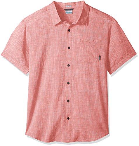 Columbia Men's Under Exposure Yarn Dye Short Sleeve Shirt, Red Element, - Red Element