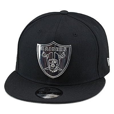 New Era Oakland Raiders Snapback Hat Cap Black/Silver Metal Badge