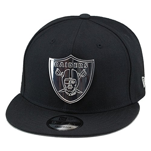 New Era Oakland Raiders Snapback Hat Cap Black Silver Metal Badge 1686866db
