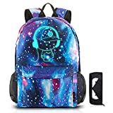 School Backpack SKL Anime Cartoon Luminous Backpack Galaxy Backpack with Pencil Case