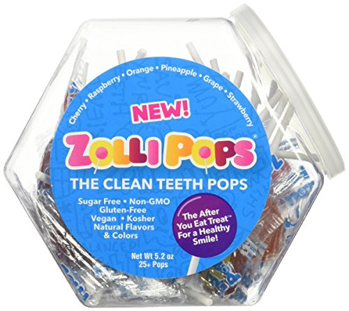 Zollipops Clean Teeth Lollipops | Anti-Cavity, Sugar Free Candy with Xylitol for a Healthy Smile - Great for Kids, Diabetics and Keto Diet (Assorted Flavors, 25 Count Jar)