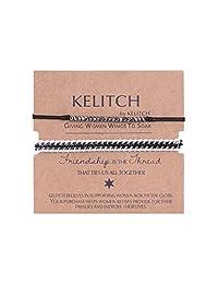 KELITCH 2 Pcs Silver Beads Chain Leather Woven Bracelets Handmade Fashion Charm Jewelry