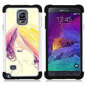 """Samsung Galaxy Note 4 IV / SM-N910 - 3 en 1 impreso colorido de Altas Prestaciones PC Funda chaqueta Negro cubierta gel silicona suave (Mujer púrpura colorida del pelo"""")"""
